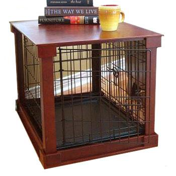 Large dog crates that double as tables keep your Weimaraner close