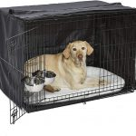 A metal dog cage is used primarily for housebreaking a puppy.